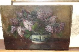 Auguste M Bowen - still life with lilacs in a Chinese bowl, oil on canvas, signed lower right,
