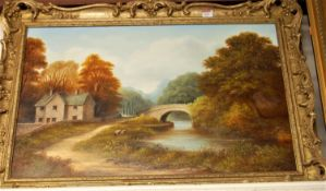 J Heathcote Hunt - river landscape with children fishing, oil on canvas, signed lower right,