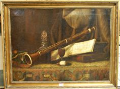 19th century English school - still life with clarinet and glass of wine, oil on canvas, 50x67cm (