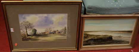 Thelma Masters - Norfolk estuary scene, oil, 25x40cm, and Ron Wragg - shepherds farm, watercolour (