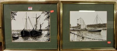 Roy Didwell - five various ink drawings being estuary scenes with barges, each signed and dated