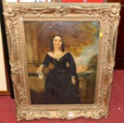 19th century school - full length portrait of a woman wearing a black dress, overpainted print,