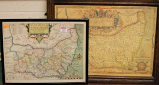 After Christopher Saxton - engraved county map of Suffolk with hand-coloured hundreds, 29 x 38cm;