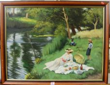 J Beers - Picnicking on the river bank, oil on canvas, signed lower right, 60x80cm