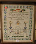 Early 20th century needlework verse sampler, unsigned, 41x33cmCondition report: Slight wear and
