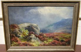 James Faed Jnr (1856-1920) - Scottish landscape with stormclouds gathering, oil, signed lower right,