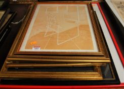 Assorted pictures and prints, to include Christine Wright - Chair and Shirt lithograph