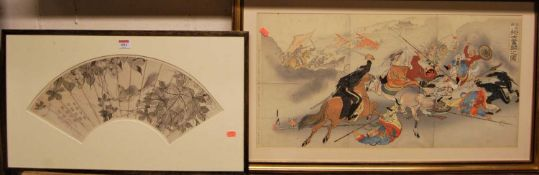 Japanese school, Meiji period - sepia watercolour signed and with studio stamps, and one other
