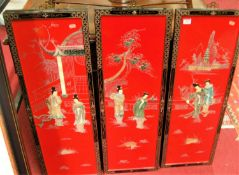 A set of four 20th century Chinese red lacquered panels, each dimensions 92 x 31cmCondition