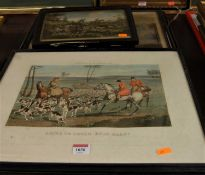 After Henry Alken - set of four prints from the Hunting Incidents series, each 28x38cm; after CB