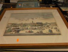 A maritime print; Dutch harbour scene reproduction colour print; and two others (4)