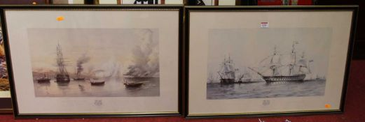 A pair of reproduction prints of the English and French fleets in the Baltic 1854, each 32 x 52cm