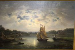 Late 19th century Dutch school - river landscape scene with sailing barges at sunset, oil on canvas,