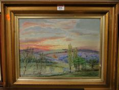 Prince - Landscape scene at sunset, oil on canvas, signed and dated 1911 lower right, 27 x 37cm
