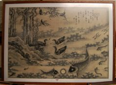 Chinese school - river landscape with carp and ducks, watercolour, signed and with studio seals