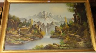 Contemporary school - continental mountain landscape, oil on canvas, signed Cole lower right,