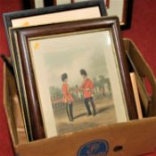 A box of assorted pictures and prints, to include monochrome steel engravings
