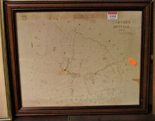 A reproduced mid-19th century engraved map of Tostock in Suffolk, dated 1844, 30 x 37cm