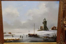 Jan Boutrisse - Dutch winter landscape, oil on canvas, signed lower right, 39x49cm