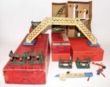 Tray of Hornby Accessories including 1929-33 No.2 Footbridge with signals, white with blue lining,
