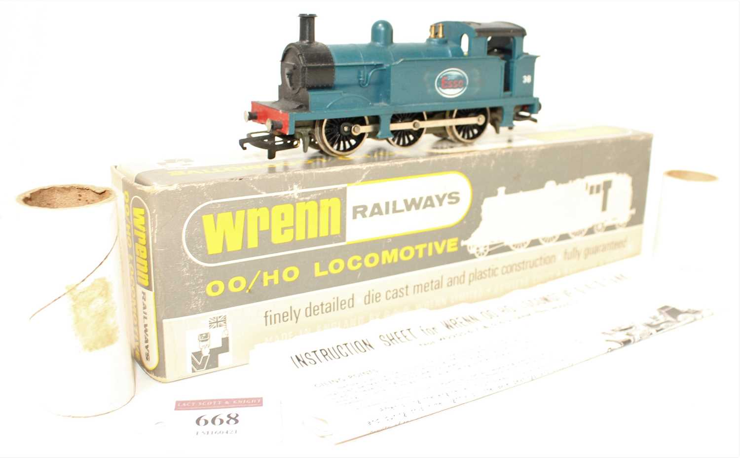 A Wrenn Railways No. W2201 Esso 0-6-0 tank loco finished in blue with No. 38 to cabsides, housed