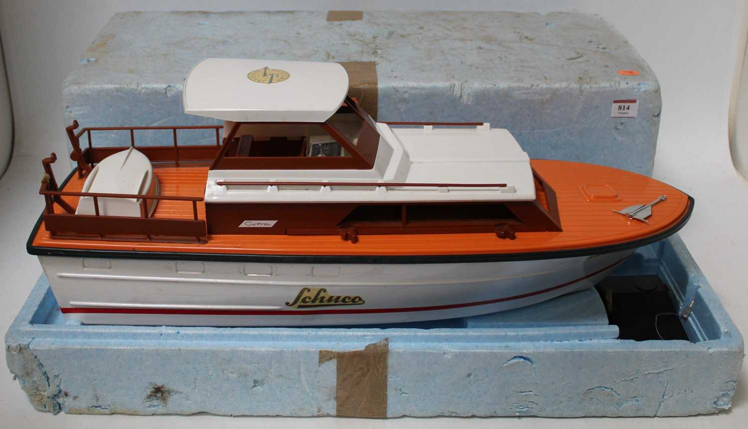 A Schuco No. 763 Cytra Ambassador 38 yacht comprising of plastic white and red hull with Schuco
