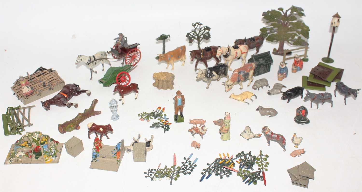 A large group of mainly Britains, loose farm and garden and flower series items. (F-G).