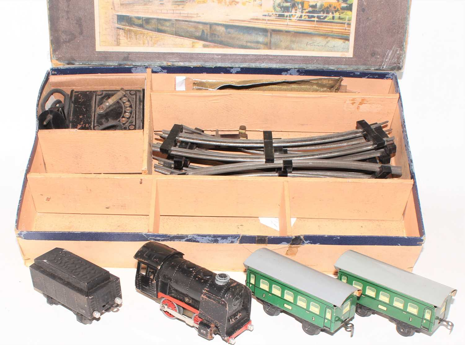 Karl Bub electric train set comprising 0-4-0 loco and tender (black with red wheels and valance), - Image 2 of 3