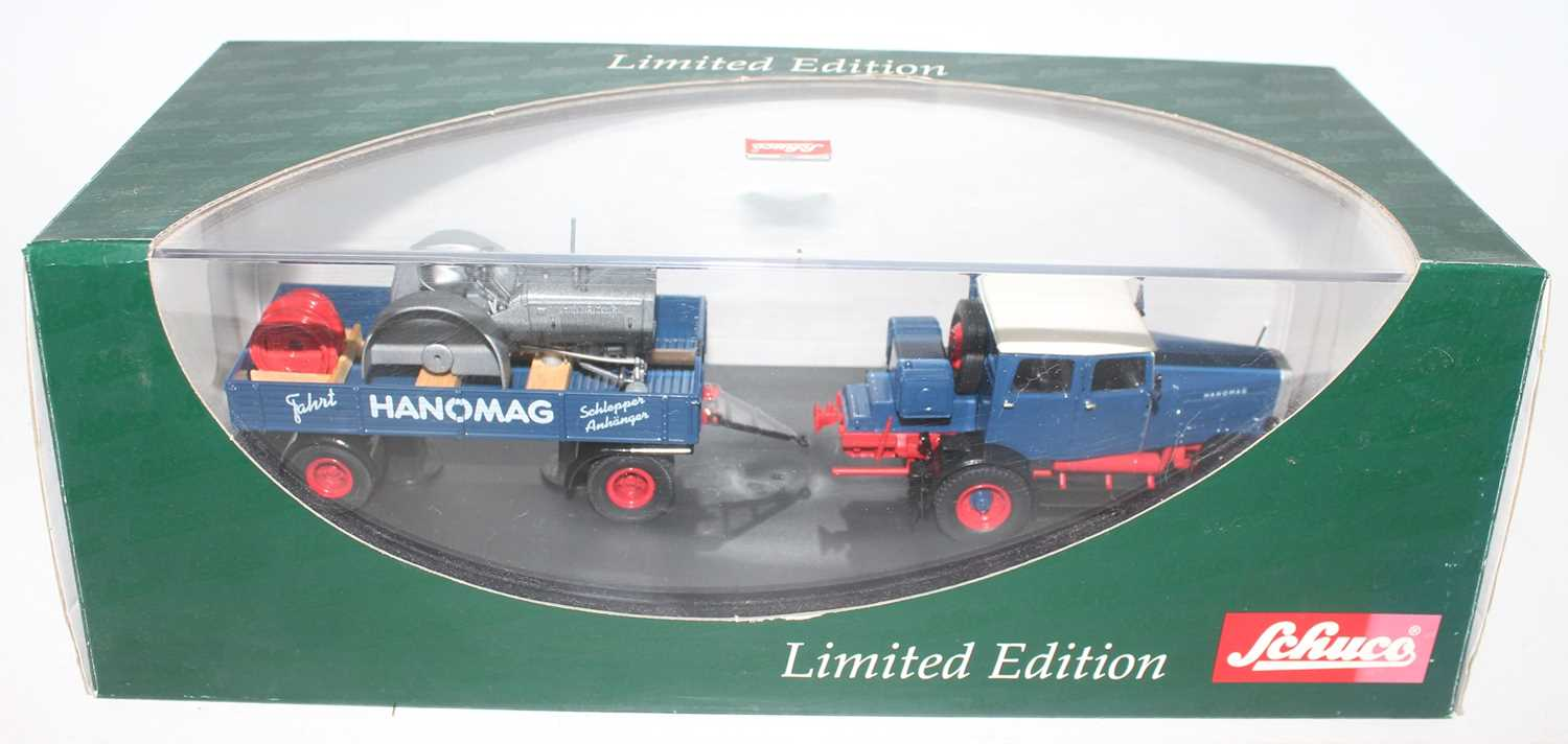 Schuco Limited Edition 02894 Hanomag ST 100 mit Anhanger set, housed in the original plastic box