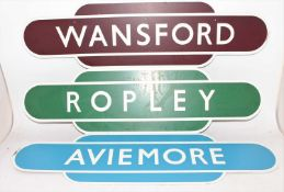 3 reproduction wooden totem signs, to include Ropley, Wansford and Aviemore