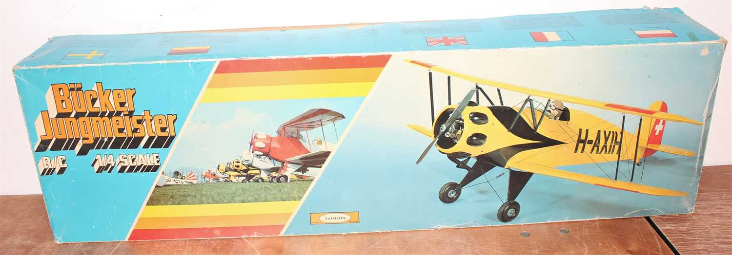 Svenson 1/4 scale balsa wood kit for a Bucker Jungmeister model aircraft, as issued in the