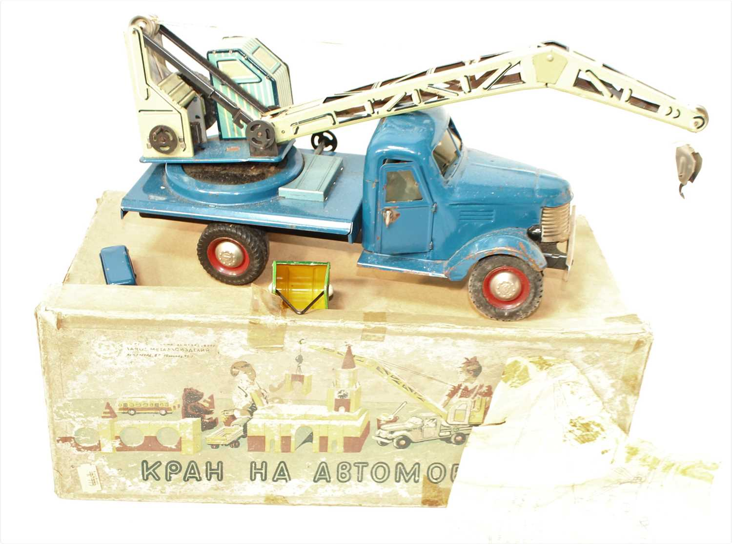A Hungarian tinplate and clockwork model of a four wheel crane, finished in dark blue with two- - Image 2 of 2