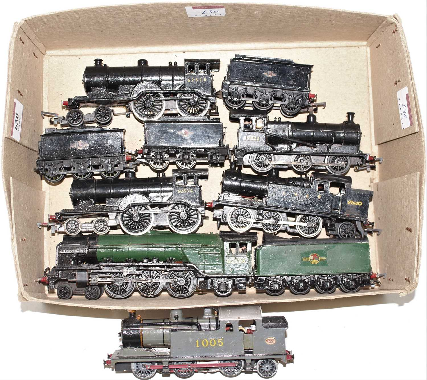 Six adapted or kit built locos, 62518/65522/69860/65234/60525 and 1005, all 2-rail, all very heavily