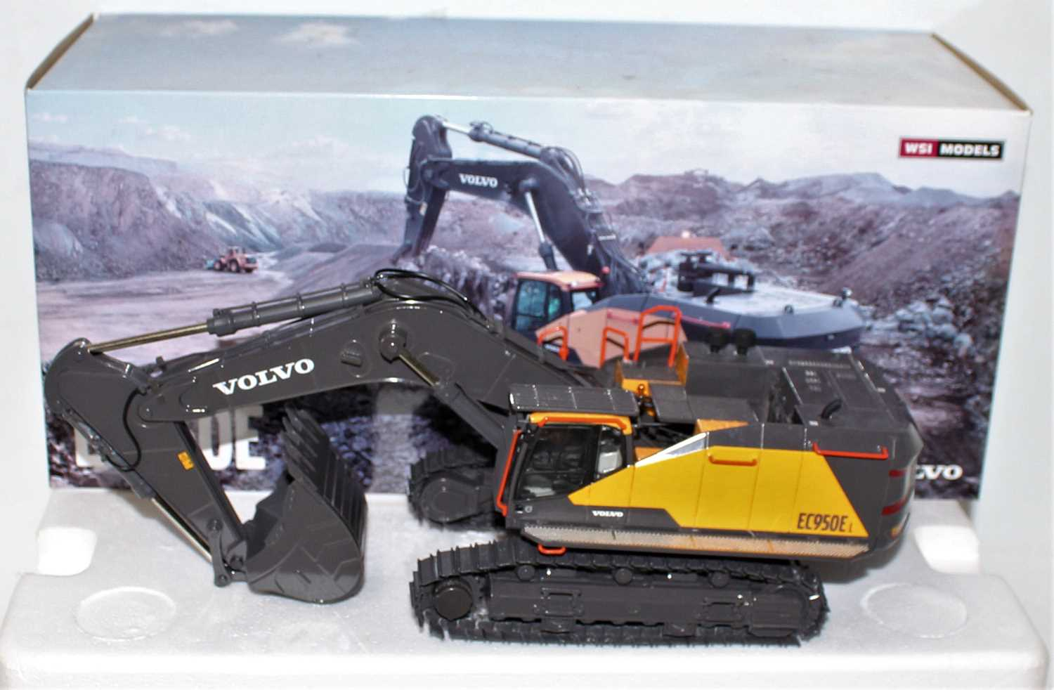 A WSI Models 1/50 scale model No. 61-2001 boxed diecast model of a Volvo EC950E tracked excavator