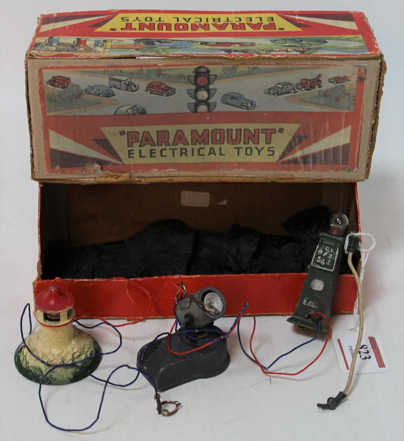 Paramount Electrical Toys, 3 piece Miniature Flood Light, Petrol Pump and Light House set, in the