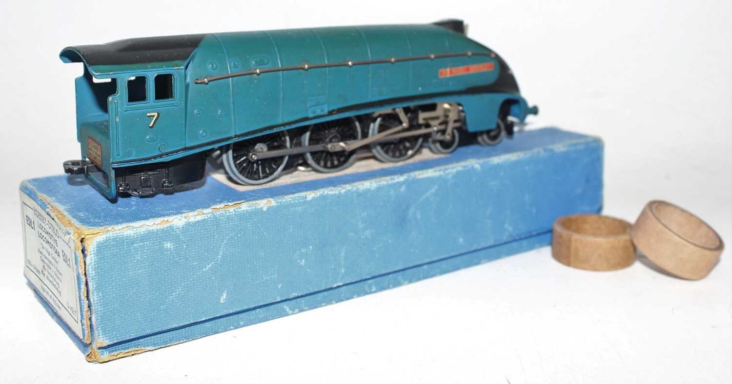 Hornby Dublo EDL1 4-6-2 A4 Locomotive Sir Nigel Gresley, blue, No.7 (VG-BVG) with unboxed LNER - Image 2 of 4