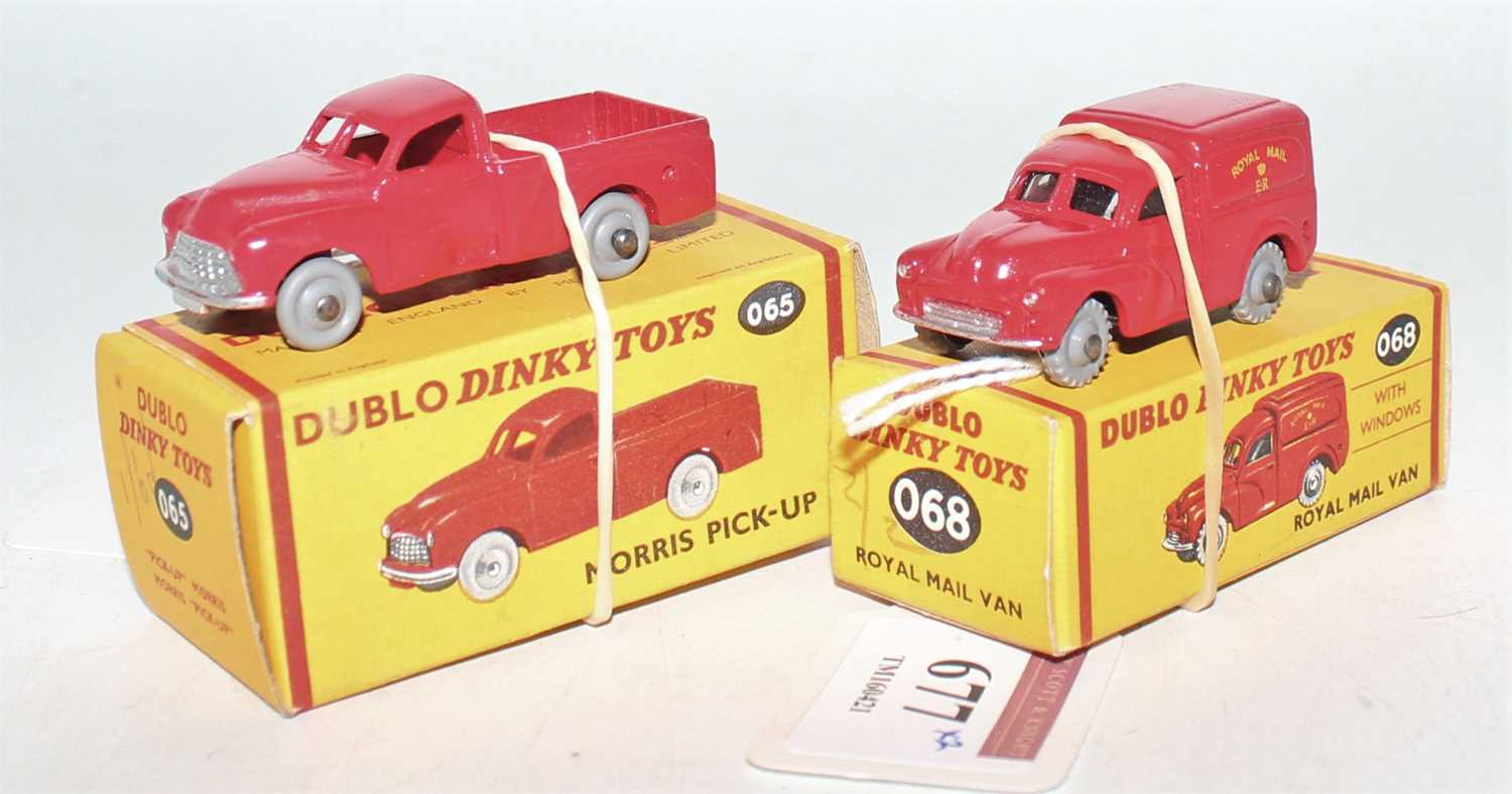Two Dublo Dinky Toys, to include 068 Royal Mail Van, grey tread wheels (M-BNM) and No.065 Morris