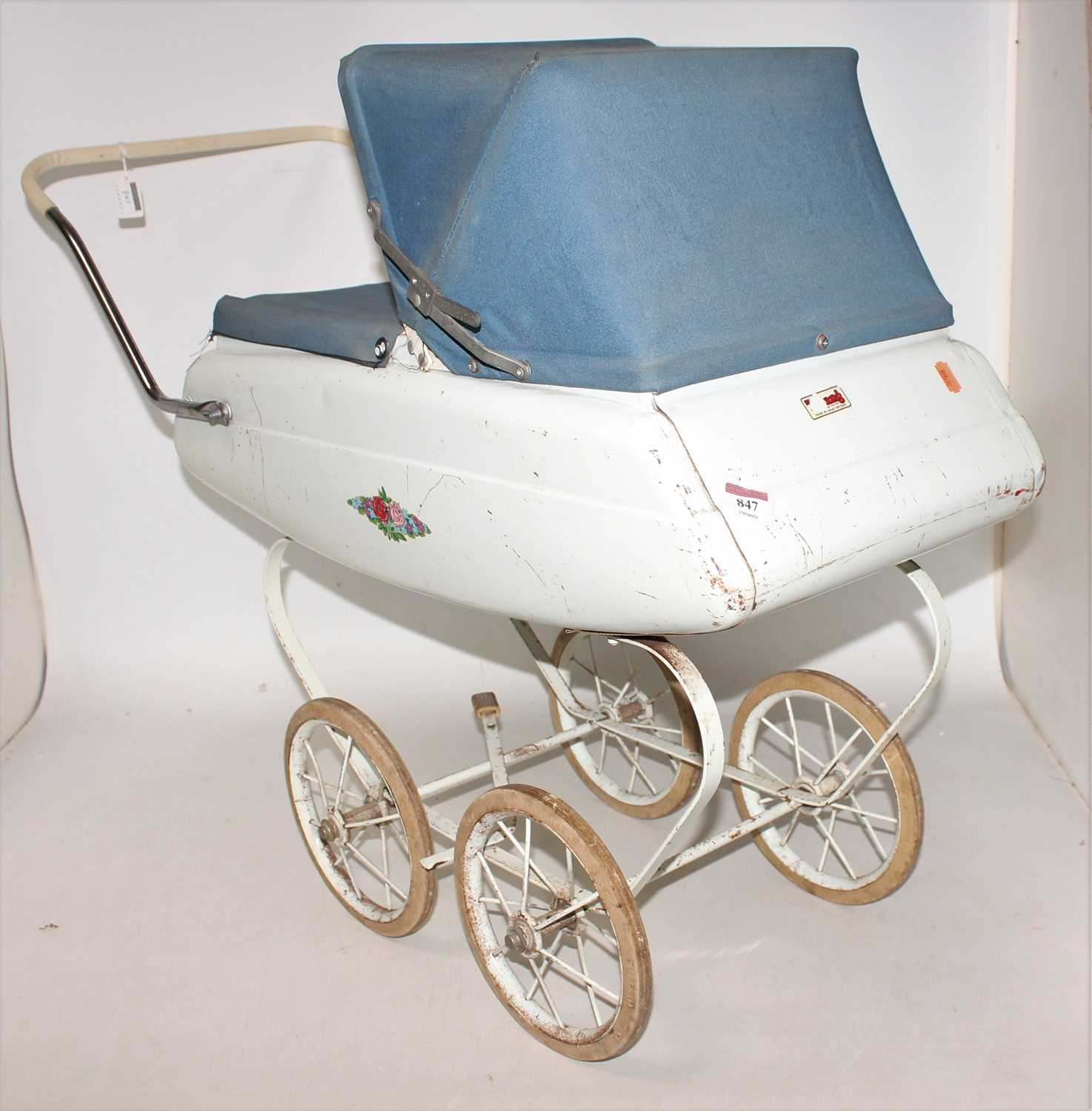 Triang dolls pram, circa mid 1960s in good condition for age, complete with original cover and hood. - Image 2 of 3