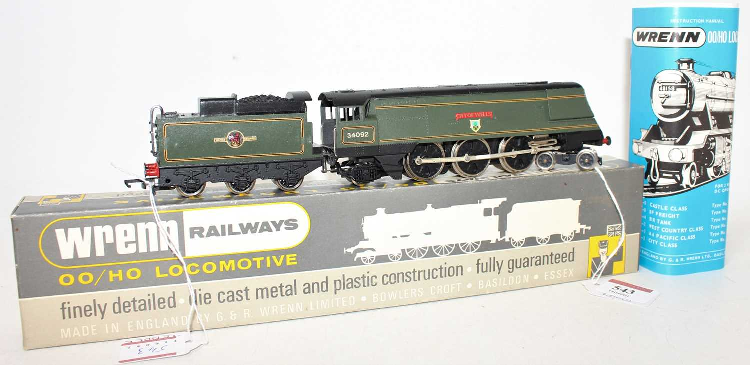 W2266AX Wrenn SR Streamlined Bullied 4-6-2 loco & tender 'City of Wells' BR lined green 34092 - Image 2 of 3