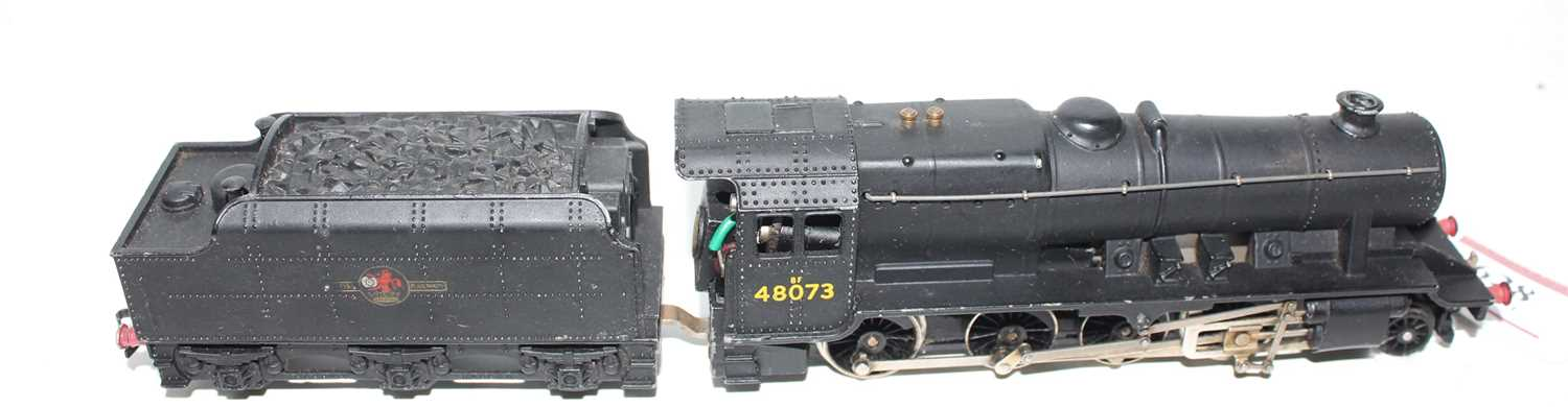 Hornby Dublo 2224 2-rail loco and tender 8F 2-8-0 Freight loco, BR Black 48073, ringfield motor, - Image 2 of 4