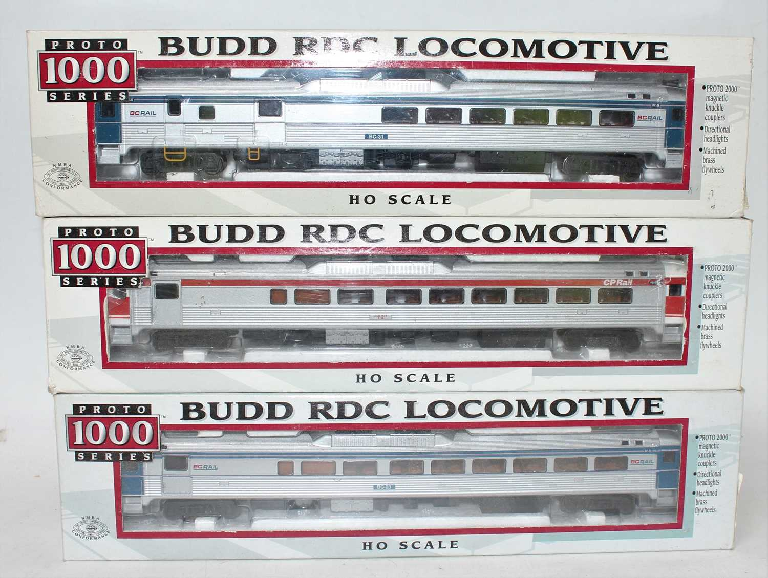 A Proto 1000 series H0 scale Budd RDC locomotive group to include a CP Rail 9100 Dayliner loco