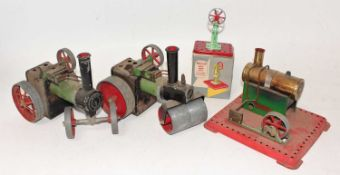 Mamod Live Steam Group, to include SR1a Roller, SE1 Steam Engine, boxed Model Power Press and a