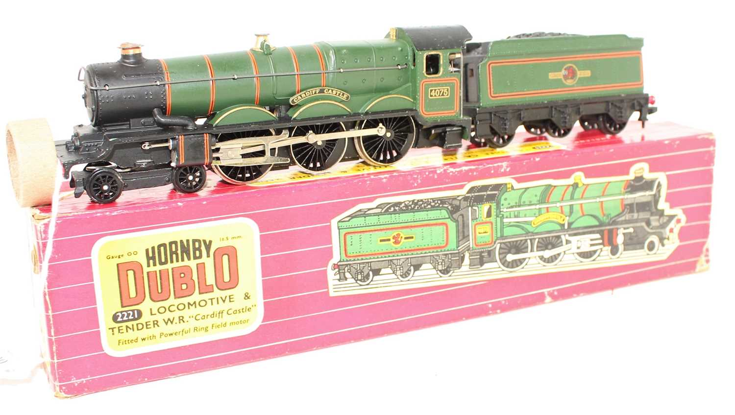 A Hornby Dublo No. 2221 2-rail Cardiff Castle locomotive and tender housed in the original card