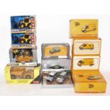 One tray containing a quantity of various JCB and agricultural vehicle diecasts, mixed brands and