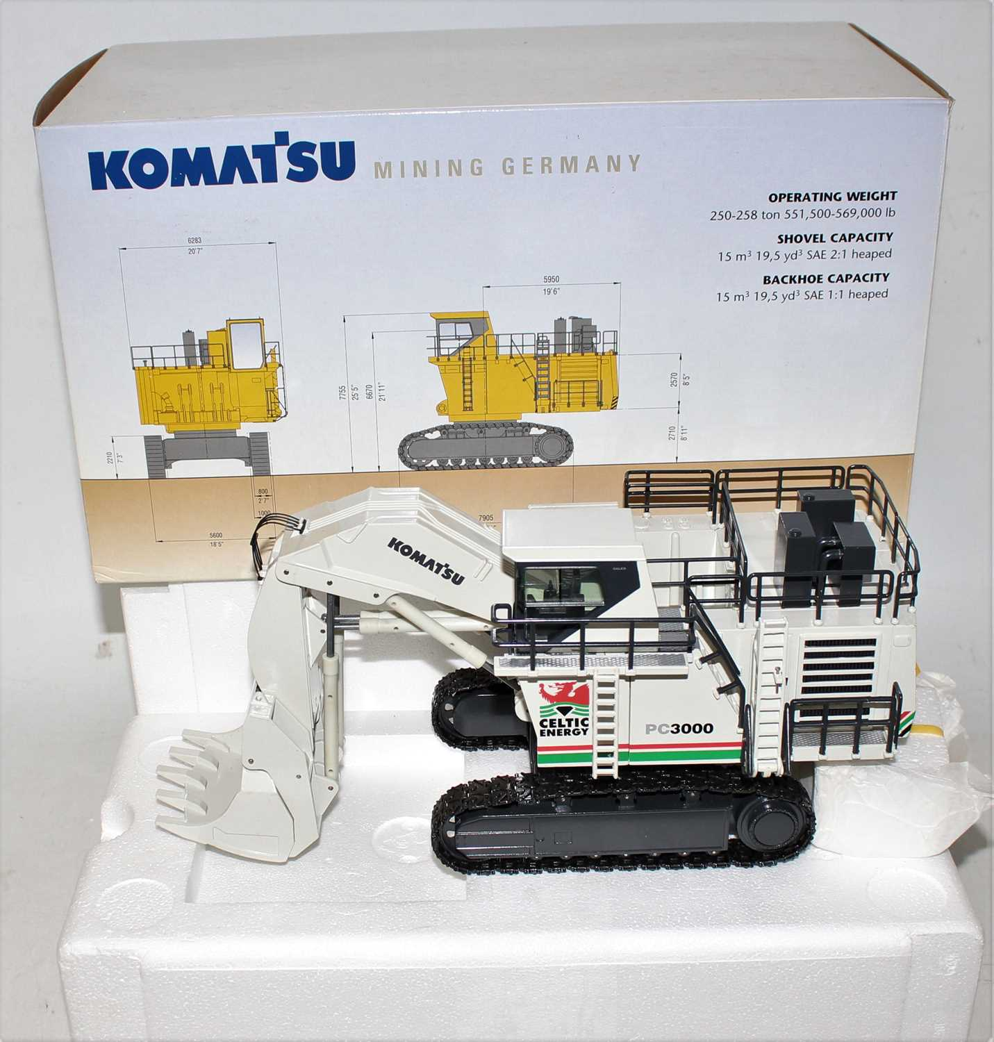 An NZG model No. 6131/01 1/50 scale model of a Komatsu PC3000 Super Shovel finished in off-white
