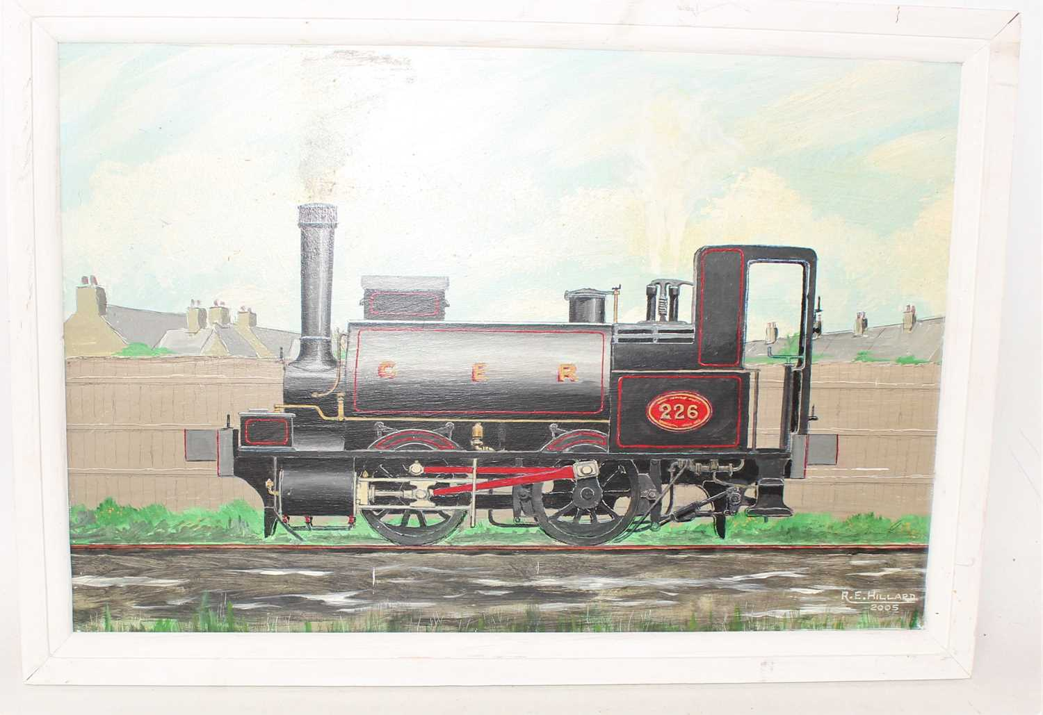 Framed and un-glazed landscape oil painting of GER Tank Loco No.226 by R.E.Hillard 2005, in a simple