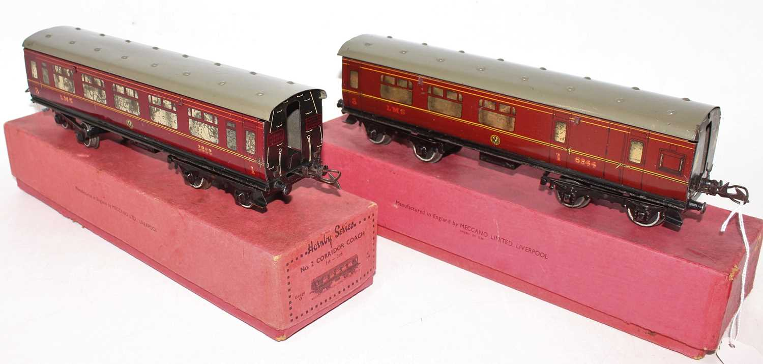 Two 1937-41 Hornby No.2 Corridor coaches, LMS 1st/3rd and Br/Comp, each has heavily marked silvering - Image 2 of 2