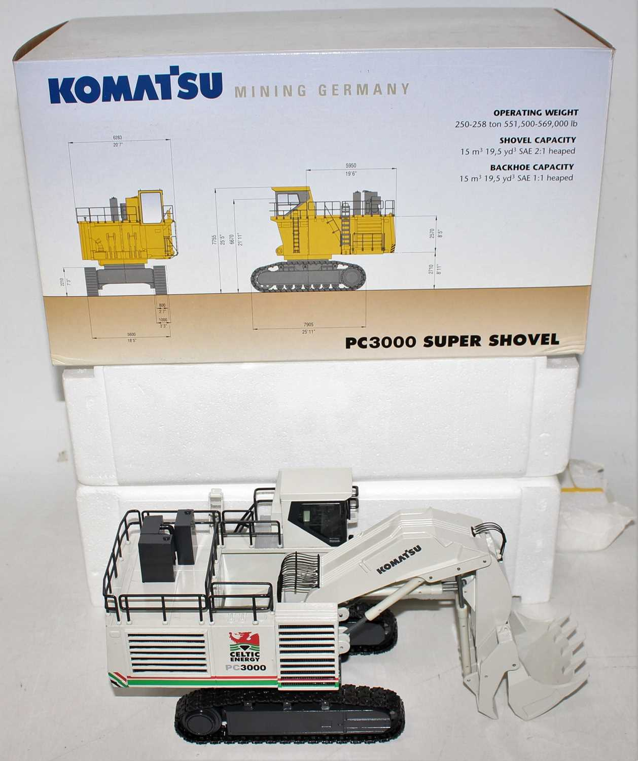 An NZG model No. 6131/01 1/50 scale model of a Komatsu PC3000 Super Shovel finished in off-white - Image 2 of 2