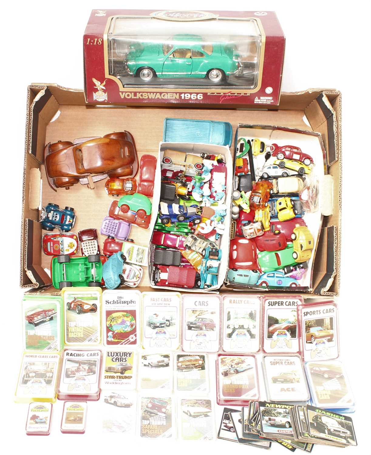 One tray containing a quantity of mixed plastic tinplate and diecast VW related collectables,