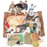 One box containing a large quantity of various vintage Palitoy Action Man dolls, accessories,